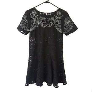 Free People Black Lace Embroidered Peplum Blouse